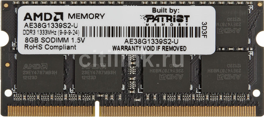 Модуль памяти AMD Entertainment Edition AE38G1339S2-U DDR3 -  8Гб 1333, SO-DIMM,  Ret