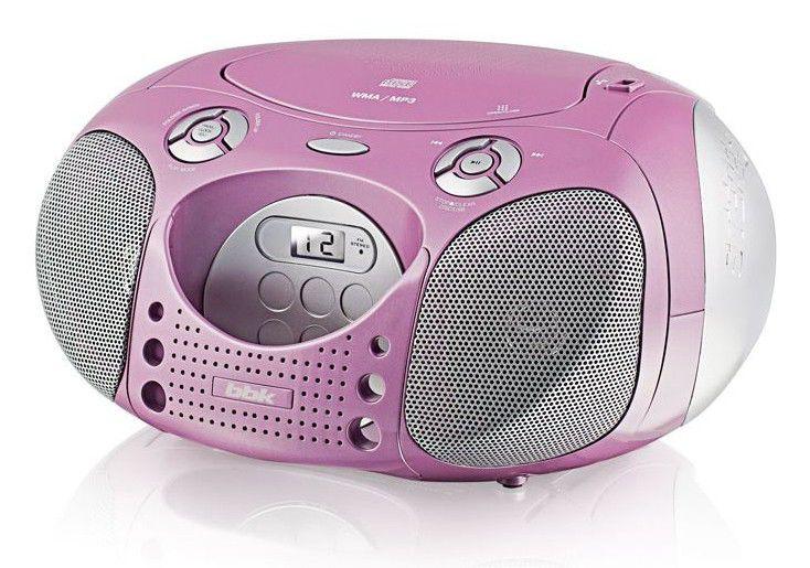 Аудиомагнитола BBK BX110U,  розовый и серебристый