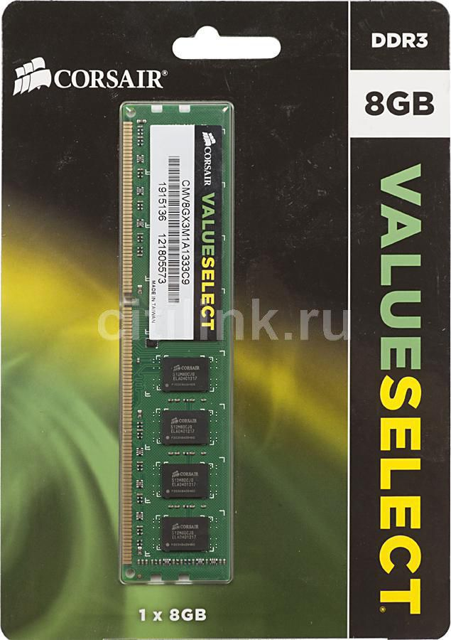 Модуль памяти CORSAIR CMV8GX3M1A1333C9 DDR3 -  8Гб 1333, DIMM,  Ret