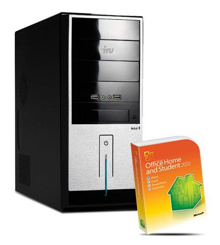Компьютер  IRU Home 310 (+ MS Office 2010),  Intel  Celeron  G530,  DDR3 2Гб, 500Гб,  nVIDIA GeForce GT520 - 1024 Мб,  DVD-RW,  Windows 7 Home Basic,  черный и серебристый