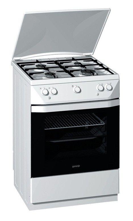 Газовая плита GORENJE G61124BW,  газовая духовка,  белый