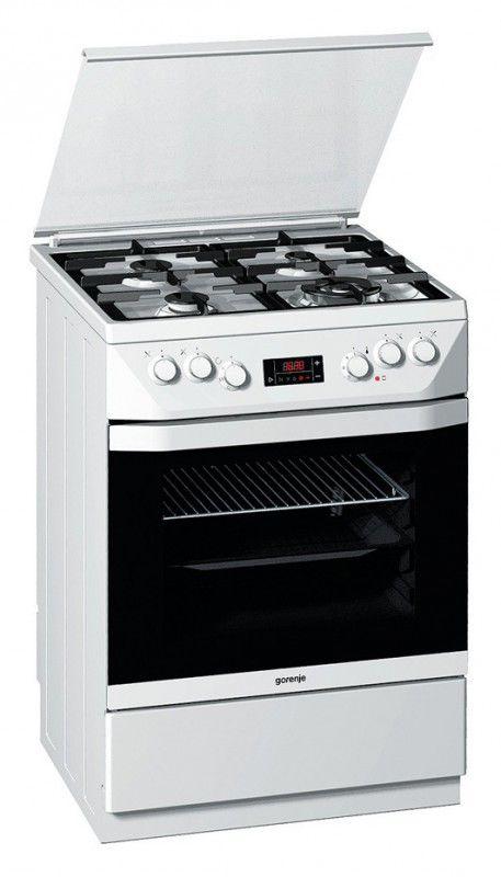 Газовая плита GORENJE K65348DW,  электрическая духовка,  белый