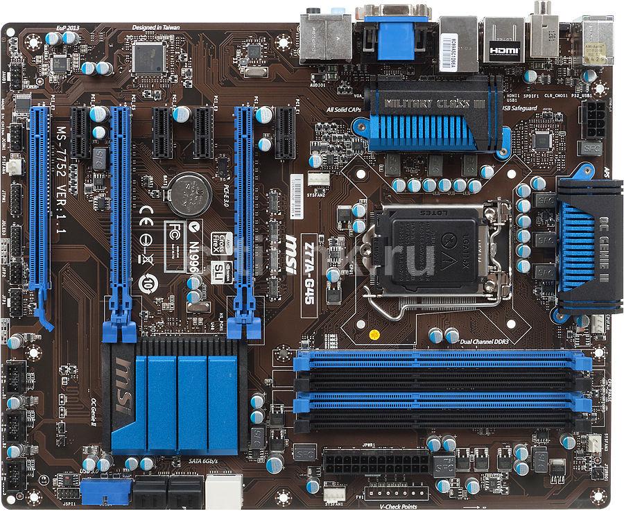 Материнская плата MSI Z77A-G45, LGA 1155, Intel Z77, ATX, Ret