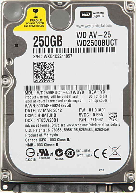 Жесткий диск WD AV-25 WD2500BUCT,  250Гб,  HDD,  SATA II,  2.5