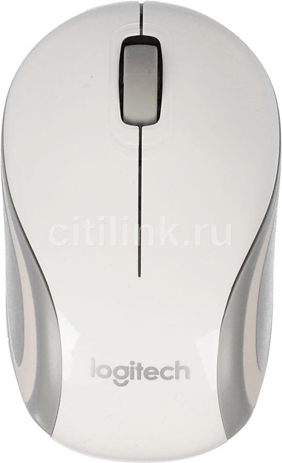 Мышь LOGITECH Mini M187 оптическая беспроводная USB, белый и серый [910-002735]