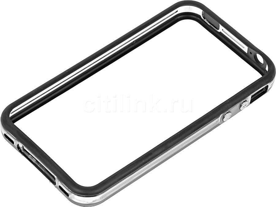 Бампер DEPPA для Apple iPhone 4/4S, черный (прозрачный)