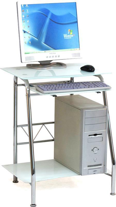Стол компьютерный  БЮРОКРАТ GD-005,  закаленное стекло,  белый