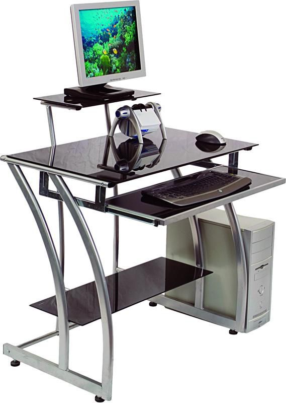 Стол компьютерный  БЮРОКРАТ GD-010,  закаленное стекло,  черный
