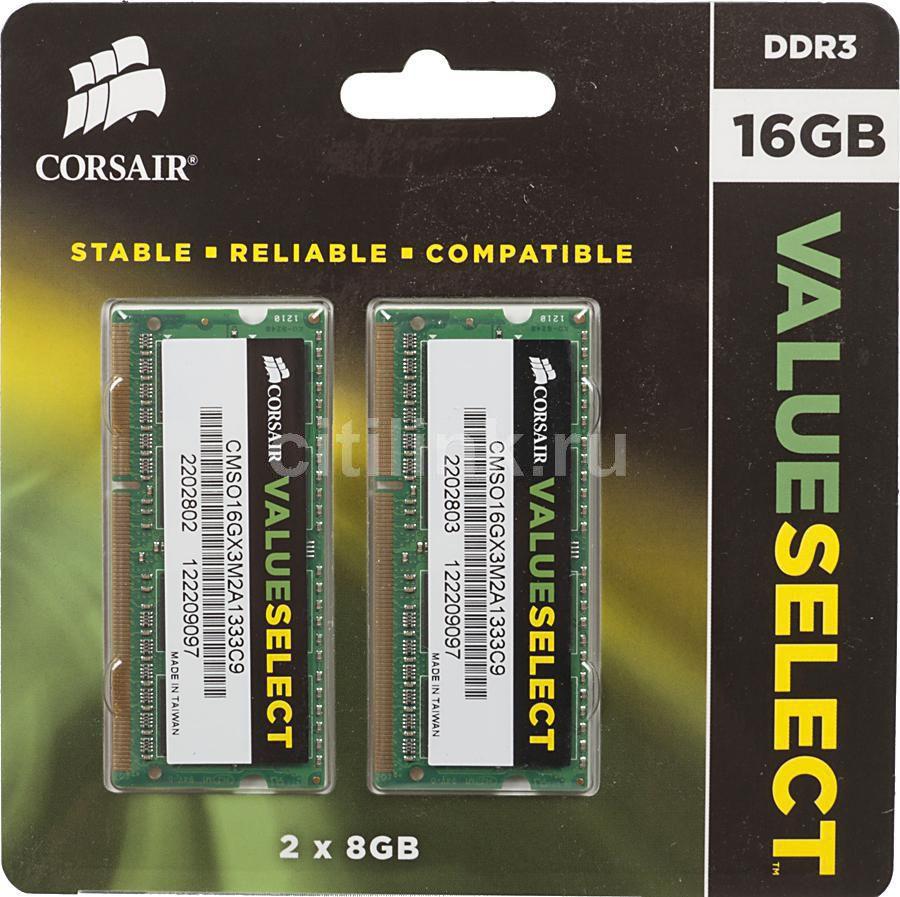 Модуль памяти CORSAIR CMSO16GX3M2A1333C9 DDR3 -  2x 8Гб 1333, SO-DIMM,  Ret