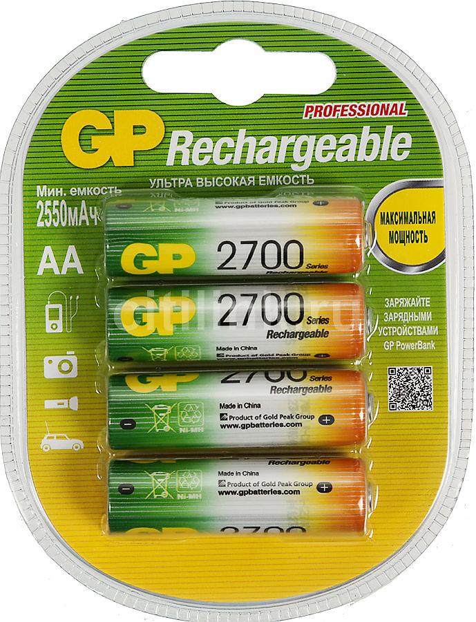 AA Аккумулятор GP 270AAHC,  4 шт. 2700мAч