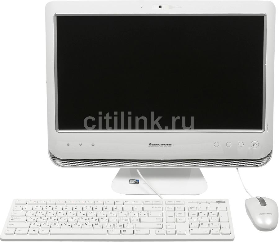 Моноблок LENOVO C200, Intel Atom D525, 2Гб, 320Гб, Intel GMA 3150, DVD-RW, Free DOS, белый и серебристый [57306762]