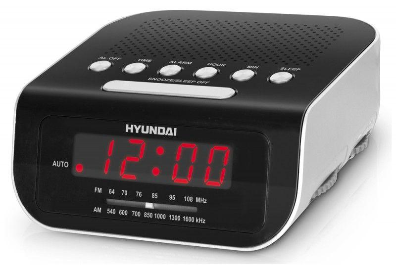 Радиобудильник HYUNDAI H-1548, красная подсветка,  серебристый
