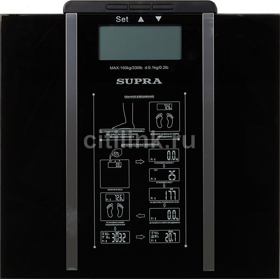 Весы SUPRA BSS-6500, до 150кг, цвет: черный [1264]