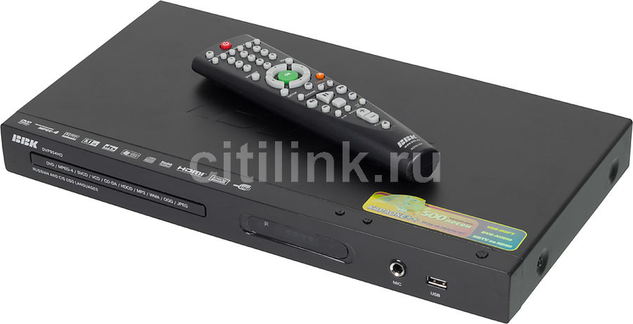 DVD-плеер BBK DVP954HD,  черный,  диск 500 песен [(dvd) player dvp954hd+д500 чер]