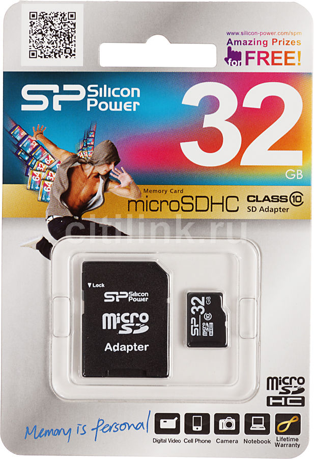 Карта памяти microSDHC SILICON POWER 32 ГБ, Class 10, SP032GBSTH010V10SP,  1 шт., переходник SD