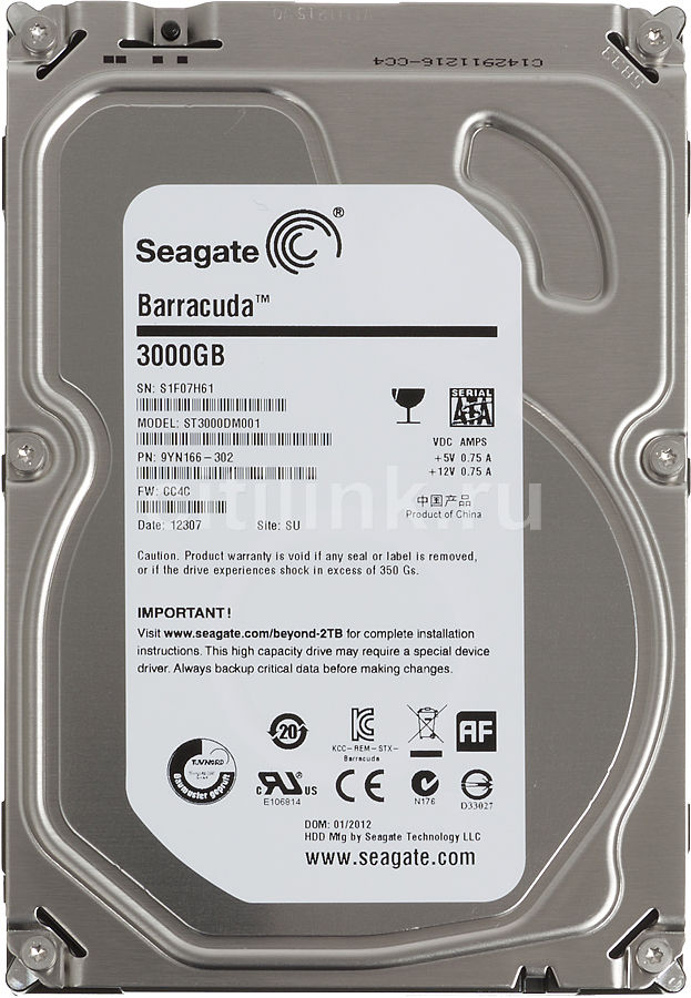Жесткий диск SEAGATE Barracuda 7200.14 ST3000DM001,  3Тб,  HDD,  SATA III,  3.5