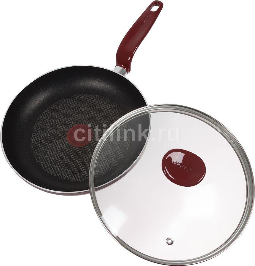 Сковорода TEFAL Edim Doma AL5730452, 240см, с крышкой,  красный