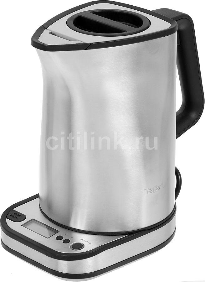Чайник электрический TEFAL KI420D30, 2400Вт, серебристый и черный