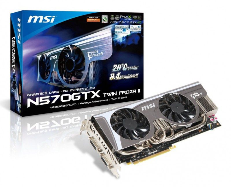 Видеокарта MSI N570GTX Twin Frozr II,  1.3Гб, GDDR5, Ret