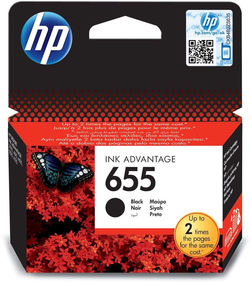 Картридж HP 655 черный [cz109ae] for hp 655 refillable ink cartridge for hp deskjet 3525 4615 4625 5525 6520 6525 for hp dey ink bottle 4 color universal 400ml