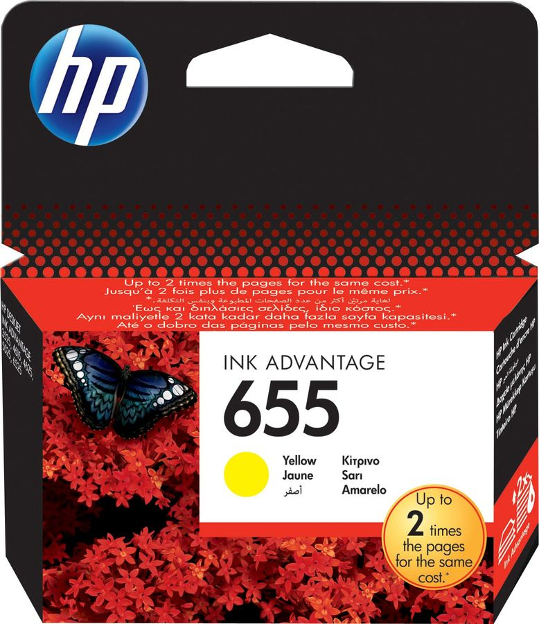 Картридж HP 655 желтый [cz112ae] for hp 655 refillable ink cartridge for hp deskjet 3525 4615 4625 5525 6520 6525 for hp dey ink bottle 4 color universal 400ml