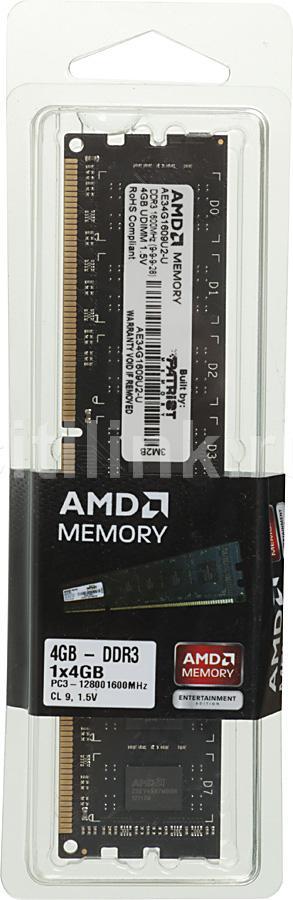 Модуль памяти AMD Entertainment Edition AE34G1609U2-U DDR3 -  4Гб 1600, DIMM,  Ret
