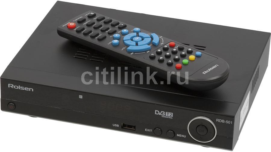 Ресивер DVB-T2 ROLSEN RDB-501,  черный