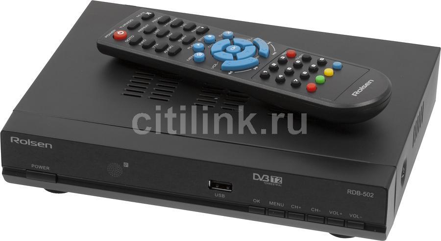 Ресивер DVB-T2 ROLSEN RDB-502,  черный