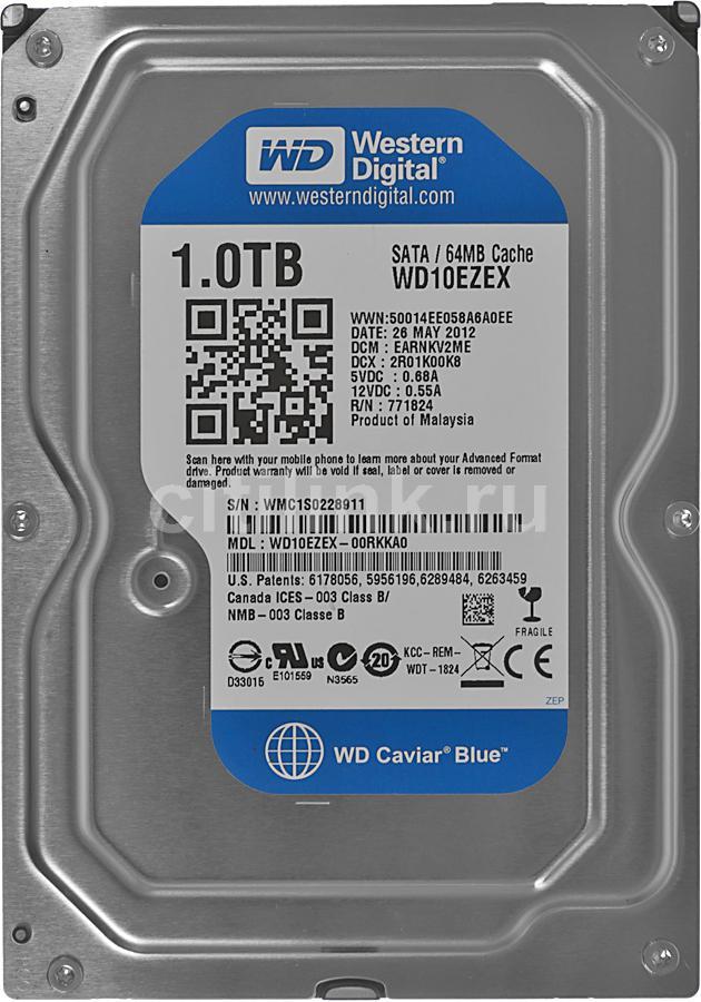 "Жесткий диск WD Caviar Blue WD10EZEX,  1ТБ,  HDD,  SATA III,  3.5"""