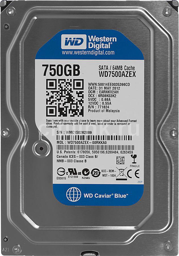 Жесткий диск WD Caviar Blue WD7500AZEX,  750Гб,  HDD,  SATA III,  3.5