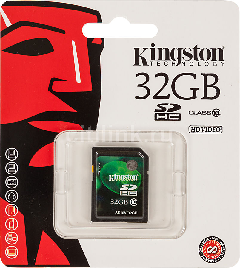 Карта памяти SDHC KINGSTON 32 ГБ, Class 10, SD10VG2/32GB,  1 шт.