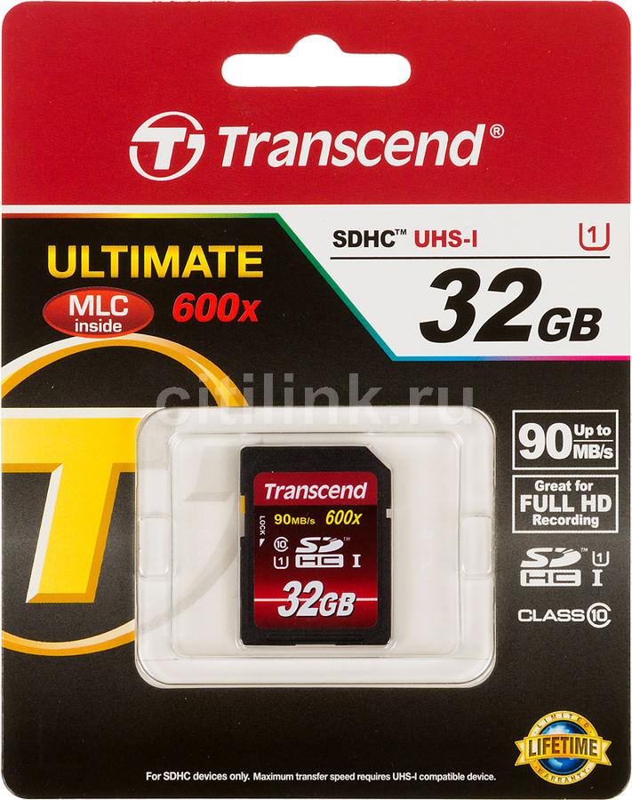 Карта памяти SDHC UHS-I TRANSCEND Ultimate 32 ГБ, 90 МБ/с, 600X, Class 10, TS32GSDHC10U1,  1 шт.