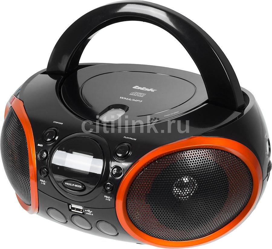Аудиомагнитола BBK BX100U,  черный и оранжевый