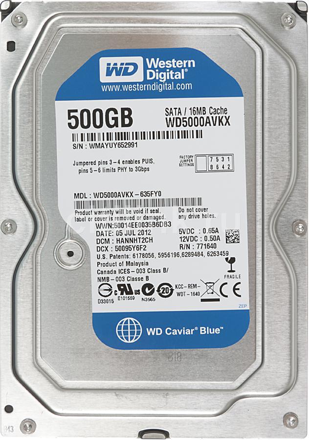 Жесткий диск WD Caviar Blue WD5000AVKX,  500Гб,  HDD,  SATA III,  3.5