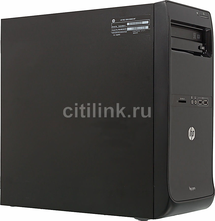 Компьютер  HP Pro 3500 MT,  Intel  Pentium  G640,  DDR3 2Гб, 500Гб,  Intel HD Graphics,  DVD-RW,  CR,  Free DOS,  черный [qb303ea]