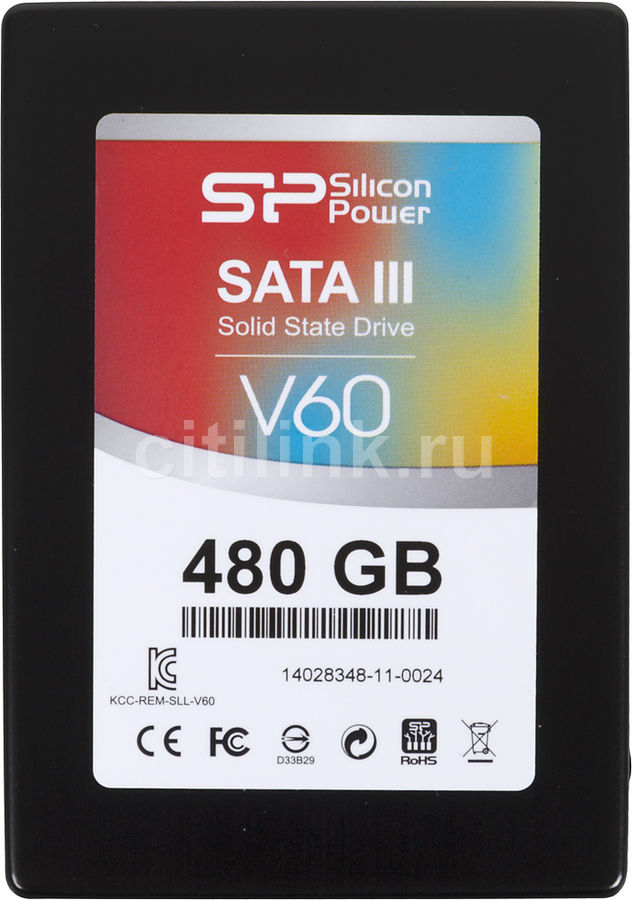 Накопитель SSD SILICON POWER Velox V60 SP480GBSS3V60S25 480Гб, 2.5