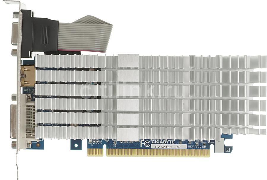 Видеокарта GIGABYTE GeForce GT 610,  GV-N610SL-1GI,  1Гб, DDR3, Low Profile,  Ret
