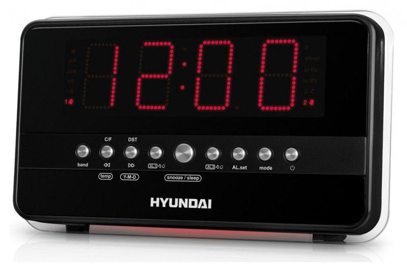 Радиобудильник HYUNDAI H-1549, красная подсветка,  черный