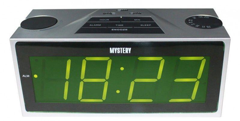 Радиобудильник MYSTERY MCR-62, зеленая подсветка,  серебристый