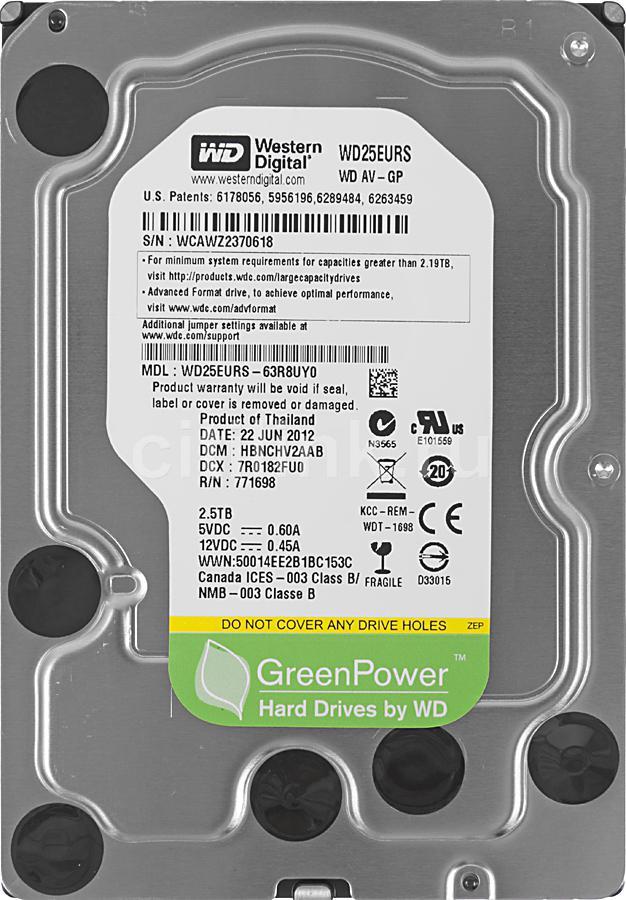 Жесткий диск WD AV-GP WD25EURS,  2.5Тб,  HDD,  SATA II,  3.5