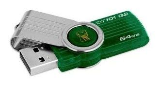 Флешка USB KINGSTON DataTraveler 64Гб, USB2.0, зеленый [dt101g2/64gb-yan]