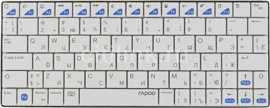 Клавиатура RAPOO E6300,  bluetooth, беспроводная, белый [11097]
