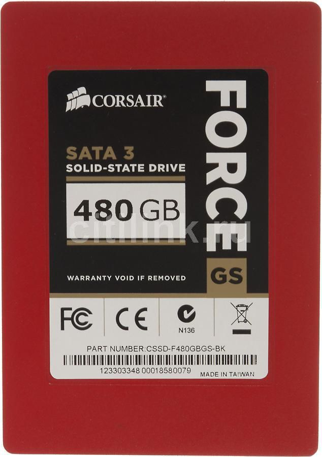 Накопитель SSD CORSAIR Force GS CSSD-F480GBGS-BK 480Гб, 2.5