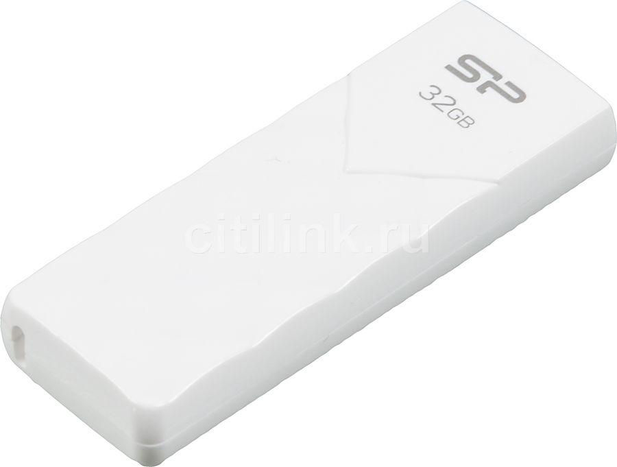 Флешка USB SILICON POWER Ultima U03 32Гб, USB2.0, белый [sp032gbuf2u03v1w]