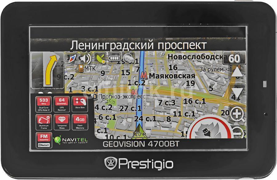 "GPS навигатор PRESTIGIO GeoVision 4700BT,  4.3"",  авто, 4Гб, Navitel 5,  черный"