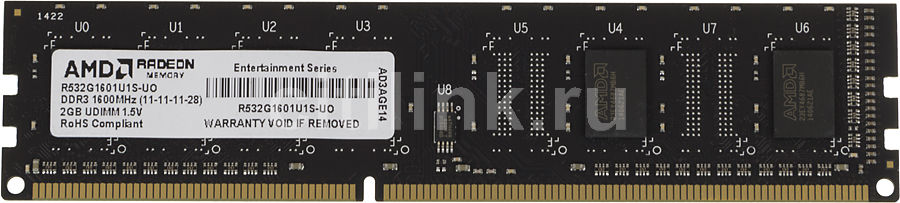 Модуль памяти AMD Entertainment Edition R532G1601U1S-UO DDR3 -  2Гб 1600, DIMM,  OEM