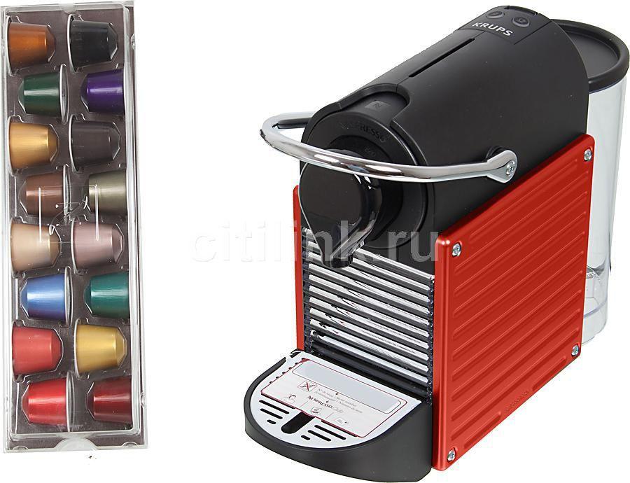 Капсульная кофеварка KRUPS Nespresso Pixie XN300610, 1260Вт, цвет: красный [8000033924]