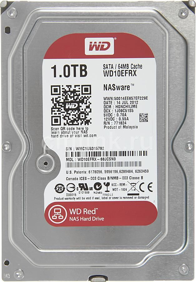 """Жесткий диск WD Red WD10EFRX,  1Тб,  HDD,  SATA III,  3.5"""""""