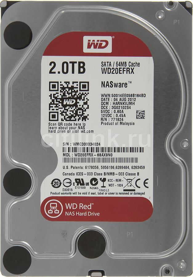 Жесткий диск WD Red WD20EFRX, 2Тб, HDD, SATA III, 3.5 корпус для hdd orico 9528u3 2 3 5 ii iii hdd hd 20 usb3 0 5