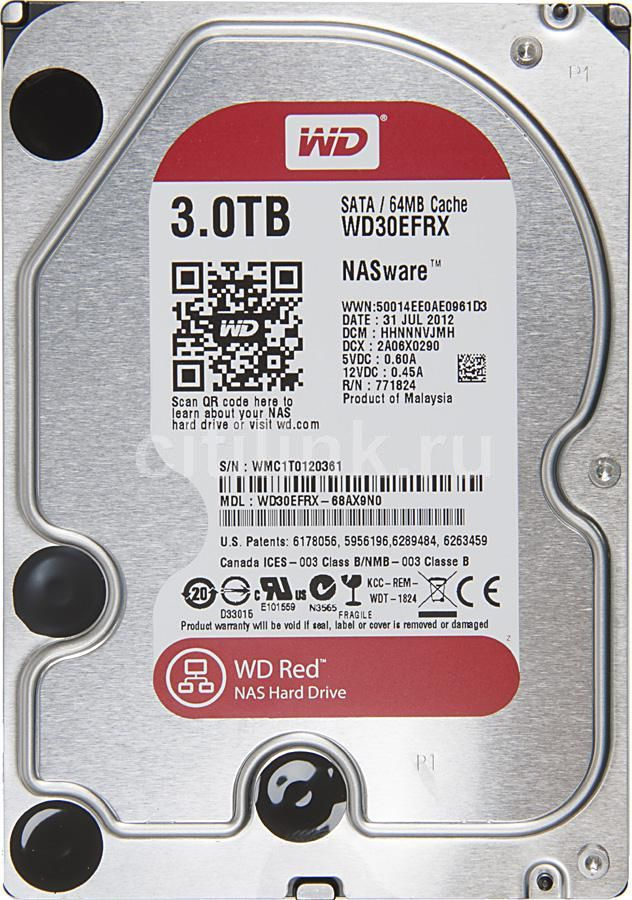 """Жесткий диск WD Red WD30EFRX,  3Тб,  HDD,  SATA III,  3.5"""""""